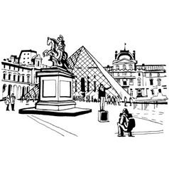 france paris louvre tourists photographed vector image
