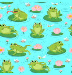 Frog seamless pattern repeating cute frogs vector