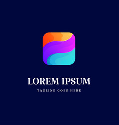 geometric colorful modern 3d square logo design vector image