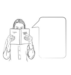girl is reading a book with face half behind vector image
