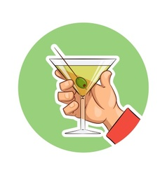 Glass of martini with olive vector image