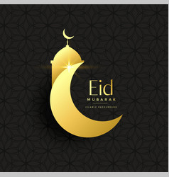 golden eid festival greeting background vector image