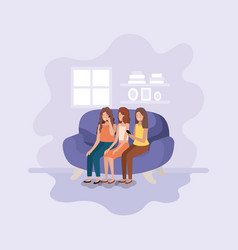 group of women in living room using technology vector image