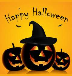 Halloween poster with grinning pumpkins and witch vector