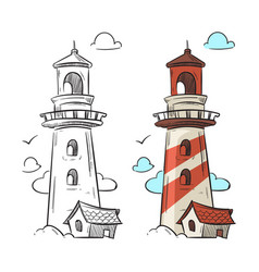Hand drawn lighthouse vector