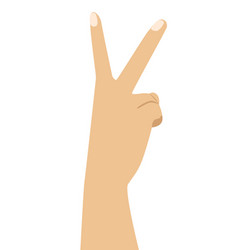 hand with two fingers up in victory symbol vector image