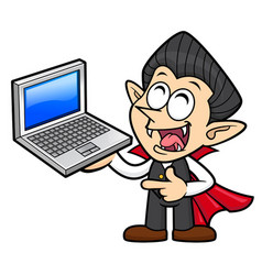 Happy dracula character is holding a laptop vector