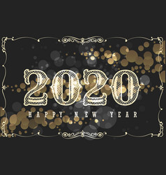 happy new 2020 year design in vintage style vector image