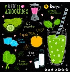 Healthy smoothie recipe set vector