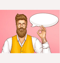 hipster man showing ok sign cartoon vector image