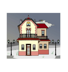 House in stormy weather vector