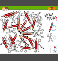 How many pencils and scissors educational task vector