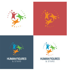 Human figures and stars logo vector