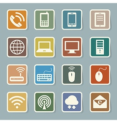 Icon set mobile devices computer and network c vector