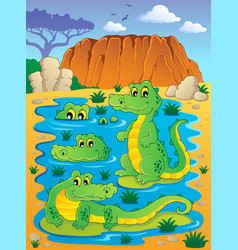 Image with crocodile theme 4 vector