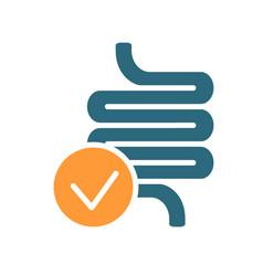 Intestine with tick checkmark line icon healthy vector