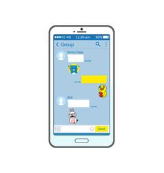 korean messenger interface on smartphone screen vector image