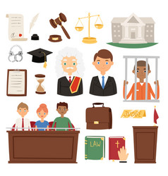Law judge process legal court icon set judgement vector