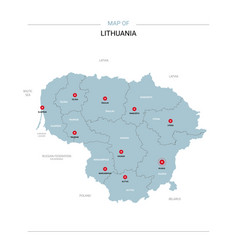 Lithuania map with red pin vector