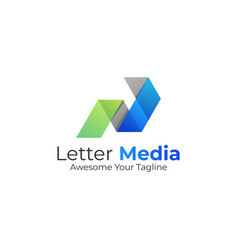 logo abstract letter p media gradient colorful vector image