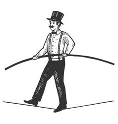 Man circus ropewalker engraving vector