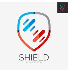 Minimal line design logo shield icon vector