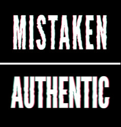 Mistaken authentic slogan holographic and glitch vector