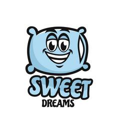 Modern mascot pillow and sweet dream logo vector