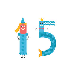number fifteen cartoon character for teaching vector image