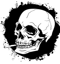 Pattern of human skull with a cigarette vector