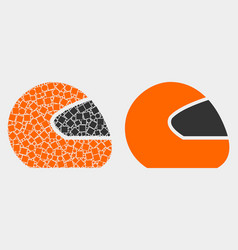 Pixelated and flat motorcycle helmet icon vector
