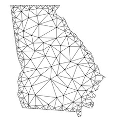 polygonal wire frame mesh map of georgia vector image