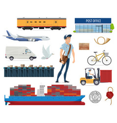 post mail delivery and postman flat icons vector image