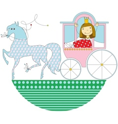 Princess in a pink carriage vector