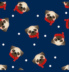 Pug dog with red scarf on navy blue background vector