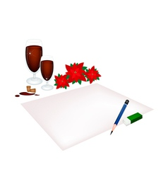 Red Poinsettia Flowers on A Blank Page vector