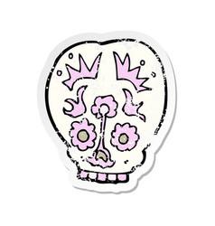 retro distressed sticker of a cartoon sugar skull vector image