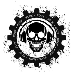 ROCK SKULL HEADPHONES vector image