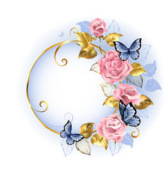 Round Banner with Pink Roses vector image