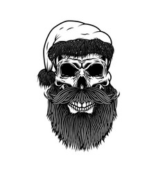 santa claus skull design element for poster card vector image