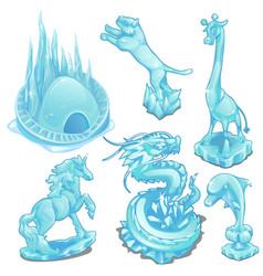 set ice figurines wild and fantastic animals vector image