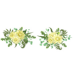 Set of autumn bouquets with yellow dahlias fern vector