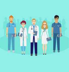 set of doctors characters medical team concept in vector image