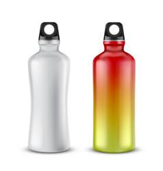 set of plastic sport bottles for drinks vector image