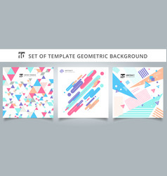Set template geometric pattern covers design vector