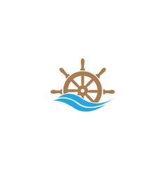 Ship wheel with waves for logo design vector