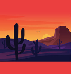 Silhouettes cactuses growing in dry desert vector