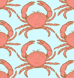 Sketch cute crab in vintage style vector image