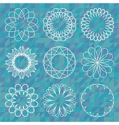 Spirograph round ornament set over polygonal vector