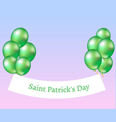 stpatrick s day banner with balloons vector image